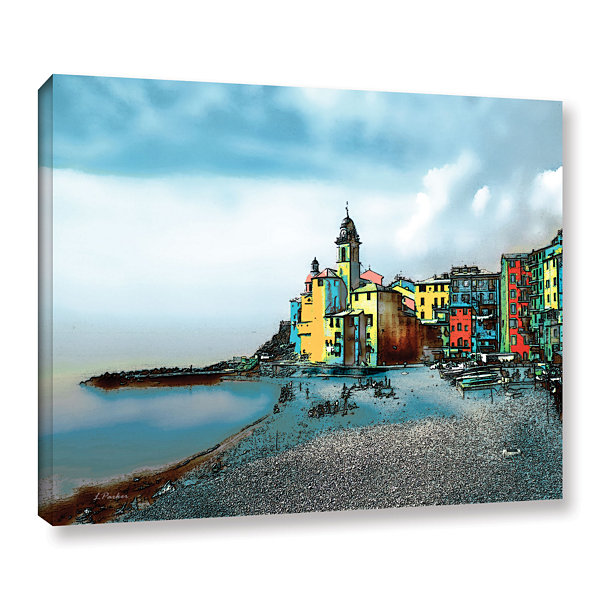 Brushstone Camogli; Italy Beachside Gallery Wrapped Canvas Wall Art