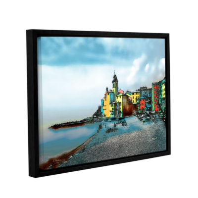 Brushstone Camogli; Italy Beachside Gallery Wrapped Floater-Framed Canvas Wall Art