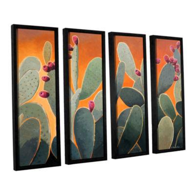 Brushstone Cactus Orange 4-pc. Floater Framed Canvas Wall Art