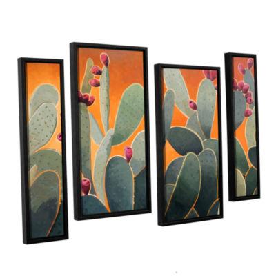 Brushstone Cactus Orange 4-pc. Floater Framed Staggered Canvas Wall Art