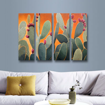 Brushstone Cactus Orange 4-pc. Gallery Wrapped Canvas Wall Art