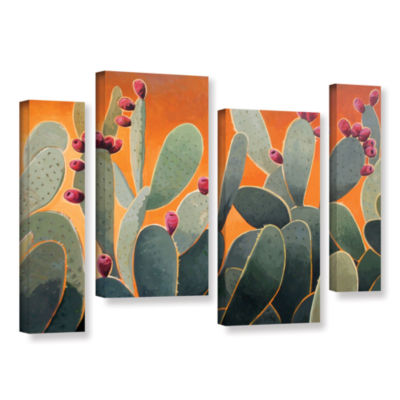 Brushstone Cactus Orange 4-pc. Gallery Wrapped Staggered Canvas Wall Art