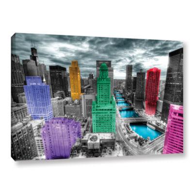 Brushstone Chicago (Color Splash) Gallery WrappedCanvas Wall Art