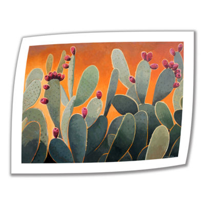 Brushstone Cactus Orange Canvas Wall Art