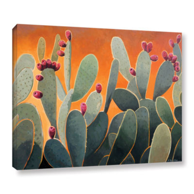 Brushstone Cactus Orange Gallery Wrapped Canvas Wall Art