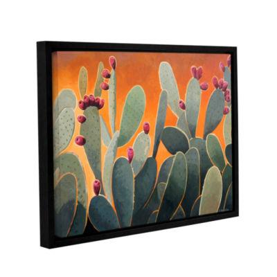 Brushstone Cactus Orange Gallery Wrapped Floater-Framed Canvas Wall Art