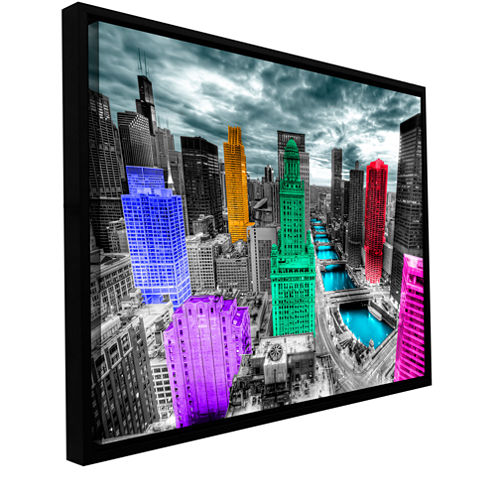 Brushstone Chicago (Color Splash) Gallery WrappedFloater-Framed Canvas Wall Art