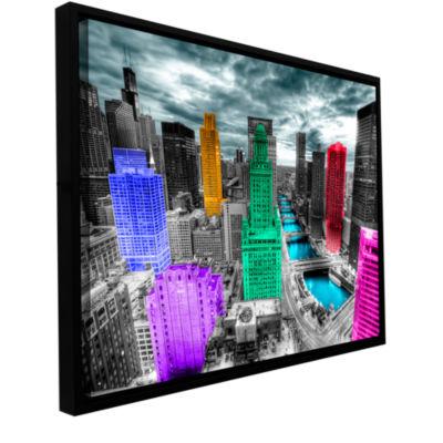 Brushstone Chicago (Color Splash) Gallery WrappedFloater-Framed Canvas Wall Art
