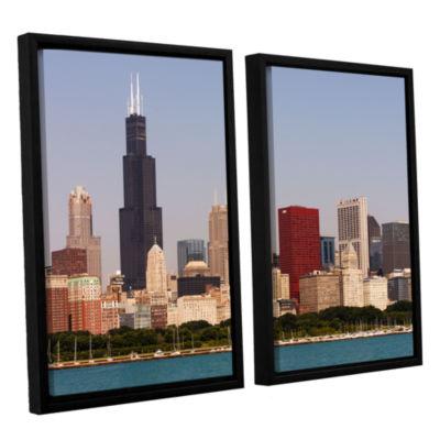 Brushstone Chicago (Skyline) 2-pc. Floater FramedCanvas Wall Art