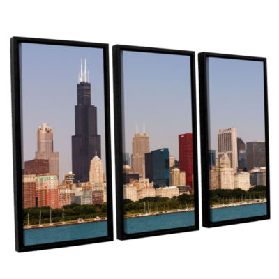 Brushstone Chicago (Skyline) 3-pc. Floater FramedCanvas Wall Art