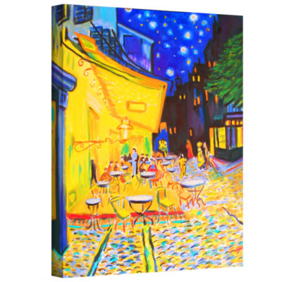 Brushstone Café Terrace (Streetscape) Gallery Wrapped Canvas Wall Art