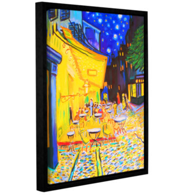 Brushstone Café Terrace (Streetscape) Gallery Wrapped Floater-Framed Canvas Wall Art