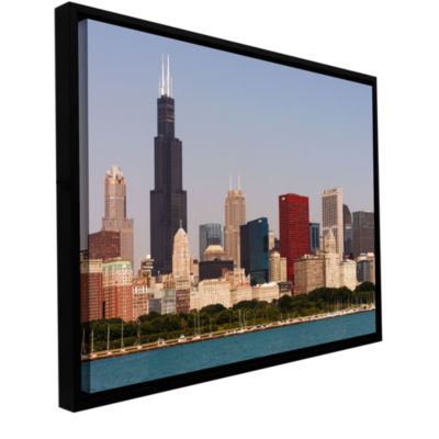 Brushstone Chicago (Skyline) Gallery Wrapped Floater-Framed Canvas Wall Art