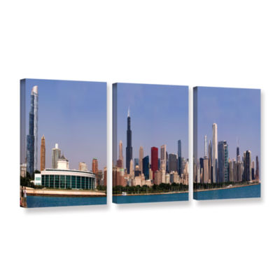 Brushstone Chicago Pano 3-pc. Gallery Wrapped Canvas Wall Art
