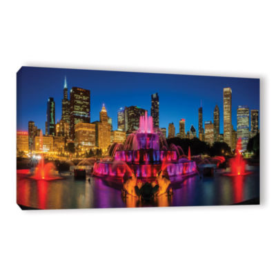 Brushstone Chicago Skyline And Buckingham FountainGallery Wrapped Canvas Wall Art
