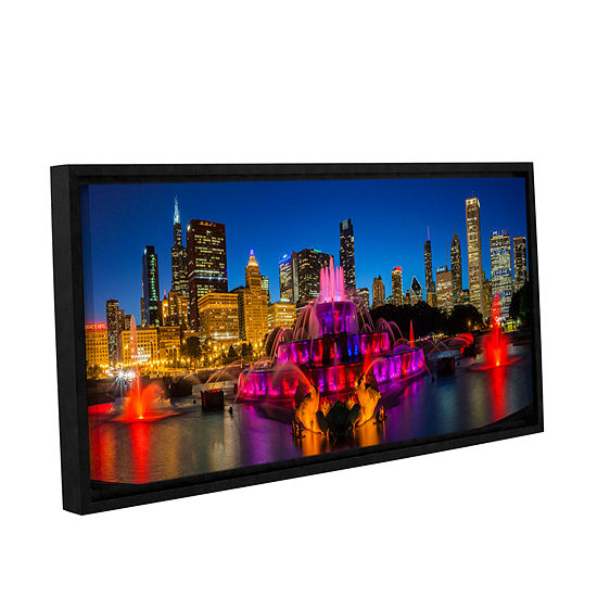 Brushstone Chicago Skyline And Buckingham Fountain Gallery Wrapped Floater-Framed Canvas Wall Art