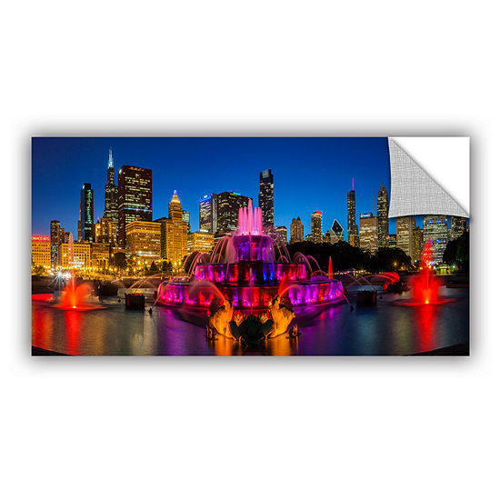 Brushstone Chicago Skyline And Buckingham Fountain Removable Wall Decal
