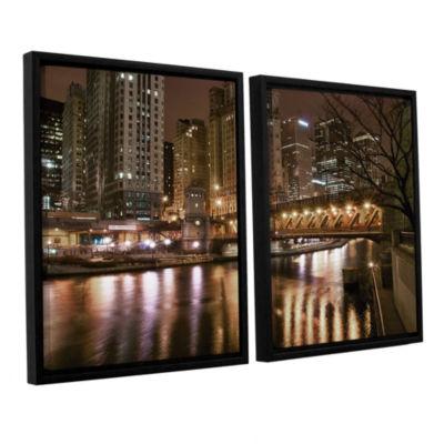 Brushstone Chicago-Michigan Avenue Bridge 2-pc. Floater Framed Canvas Wall Art