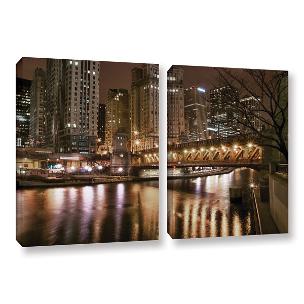 Brushstone Chicago-Michigan Avenue Bridge 2-pc. Gallery Wrapped Canvas Wall Art