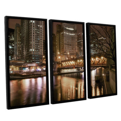 Brushstone Chicago-Michigan Avenue Bridge 3-pc. Floater Framed Canvas Wall Art