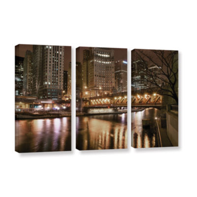 Brushstone Chicago-Michigan Avenue Bridge 3-pc. Gallery Wrapped Canvas Wall Art