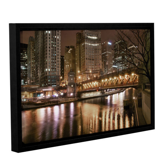 Brushstone Chicago-Michigan Avenue Bridge GalleryWrapped Floater-Framed Canvas Wall Art