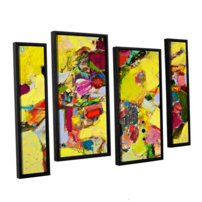 Brushstone Bumble 4-pc. Floater Framed Staggered Canvas Wall Art