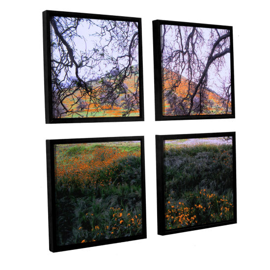 Brushstone Caliente Spring 4-pc. Square Floater Framed Canvas Wall Art