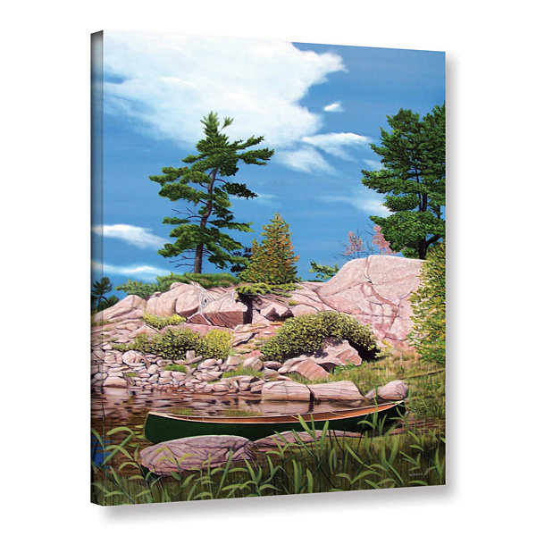 Brushstone Canoe Among Rocks Gallery Wrapped Canvas Wall Art