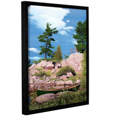 Brushstone Canoe Among Rocks Gallery Wrapped Floater-Framed Canvas Wall Art