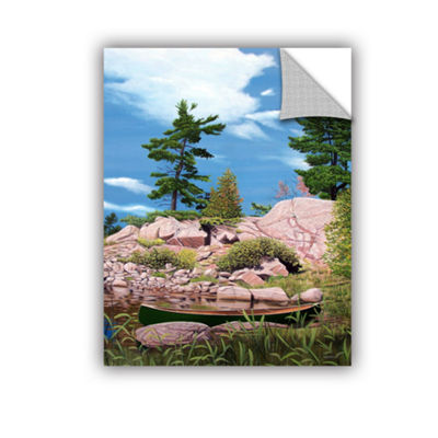 Brushstone Canoe Among Rocks Removable Wall Decal