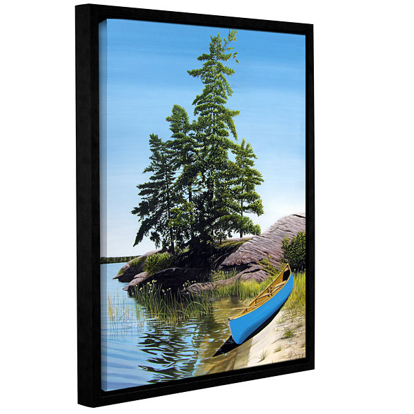 Brushstone Canoe On Georgian Bay 1 Gallery WrappedFloater-Framed Canvas Wall Art