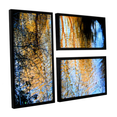 Brushstone Canyon Light (Forest) 3-pc. Flag Floater Framed Canvas Wall Art