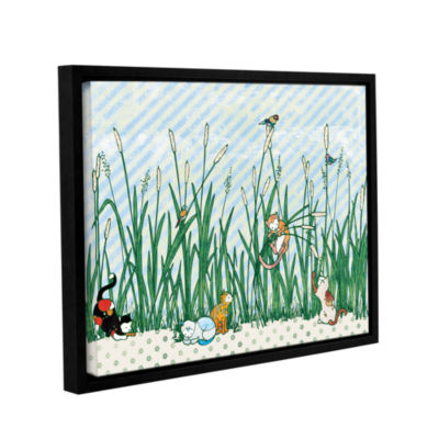Brushstone Cattails Gallery Wrapped Floater-FramedCanvas Wall Art