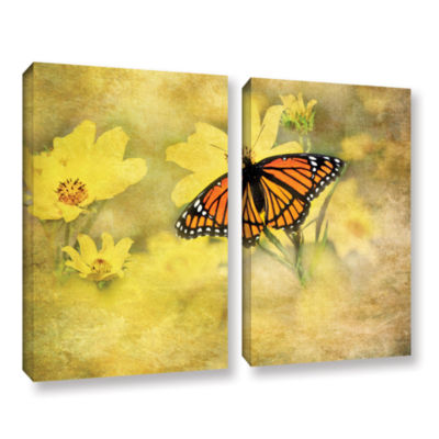 Brushstone Butterfly (Flowers) 2-pc. Gallery Wrapped Canvas Wall Art
