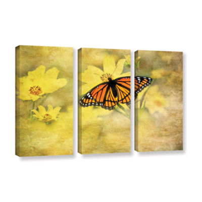 Brushstone Butterfly (Flowers) 3-pc. Gallery Wrapped Canvas Wall Art