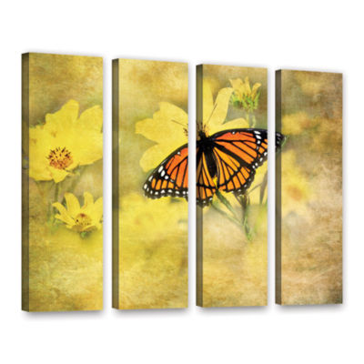 Brushstone Butterfly (Flowers) 4-pc. Gallery Wrapped Canvas Wall Art