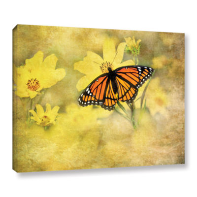 Brushstone Butterfly (Flowers) Gallery Wrapped Canvas Wall Art