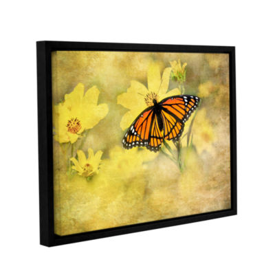 Brushstone Butterfly (Flowers) Gallery Wrapped Floater-Framed Canvas Wall Art