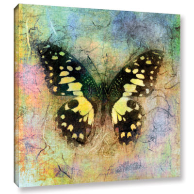 Brushstone Butterfly (Yellow) Gallery Wrapped Canvas Wall Art