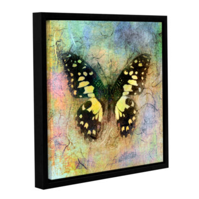 Brushstone Butterfly (Yellow) Gallery Wrapped Floater-Framed Canvas Wall Art