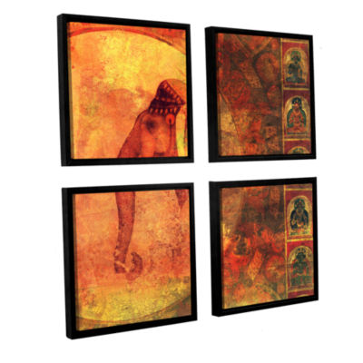 Brushstone Buddhist Elephant 4-pc. Square Floater Framed Canvas Wall Art