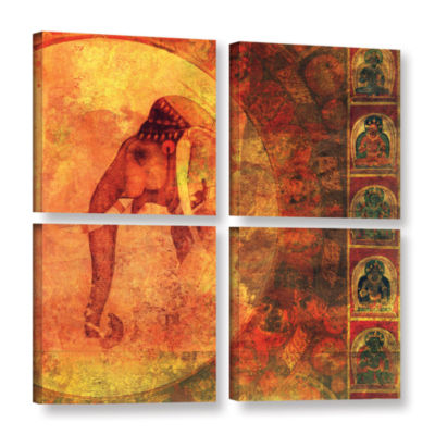 Brushstone Buddhist Elephant 4-pc. Square GalleryWrapped Canvas Wall Art