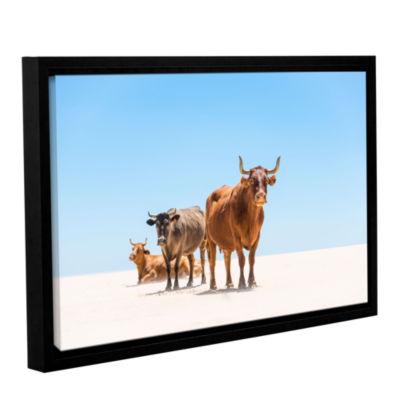 Brushstone Bulls In The Desert Gallery Wrapped Floater-Framed Canvas Wall Art
