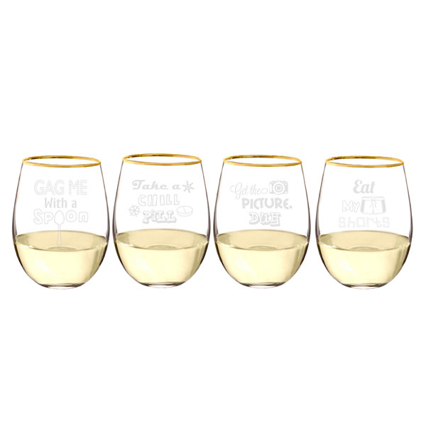 Cathy's Concepts 90's Throwback Gold Rim Stemless Wine Glasses