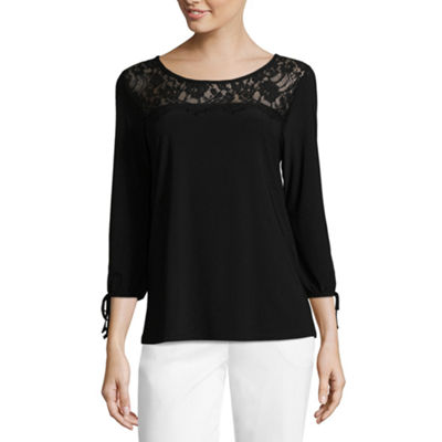 Liz Claiborne 3/4 Sleeve Scoop Neck T-Shirt - Womens
