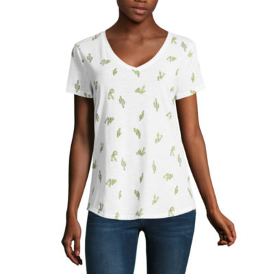 a.n.a Ana Cactus  Boyfriend Tee Short Sleeve Crew Neck T-Shirt-Womens