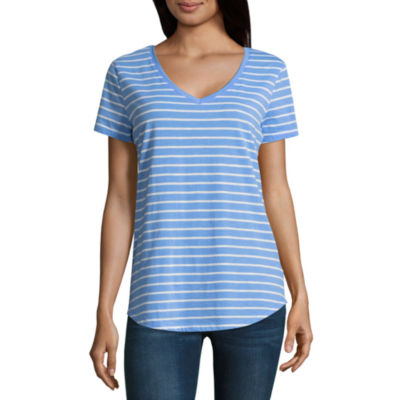 a.n.a Ana Striped Boyfriend Tee Short Sleeve V Neck Stripe T-Shirt-Womens