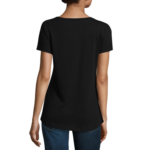 a.n.a Ana Graphic Boyfriend Tee Short Sleeve Crew Neck T-Shirt-Womens
