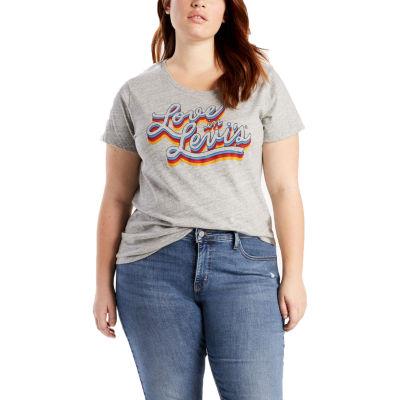 Levi's Short Sleeve Crew Neck T-Shirt-Womens Plus